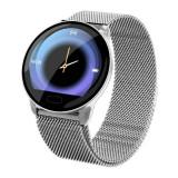 Ceas smartwatch unisex, rezistent la apa, compatibil cu Android si iOS, argintiu, Gonga