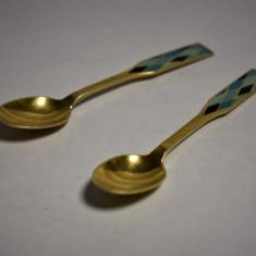 Doua Lingurite de lux  Argint Aurit cu Email designer Georg Jensen Danemarca