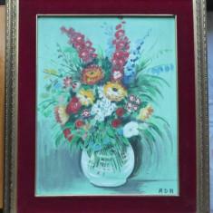 Flori ; ulei / carton , rama , semnat , lucrare veche interbelica