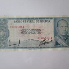 Rara! Bolivia 5 Pesos 1962