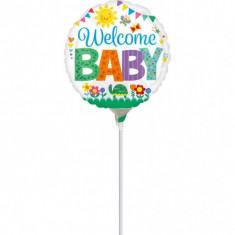 Balon Botez Mini Folie 23 cm Welcome Baby Cute
