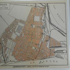 Harta Galati 1920, 17x19 cm, lb. franceza, impecabila
