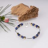 Bratara argint cu tuburi si serii de 5 cubulete din lapis lazuli si hematit auriu