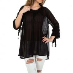 Bluza transparenta, vaporoasa, de culoare neagra, M/L, S/M, Negru