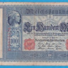 (1) BANCNOTA GERMANIA - 100 MARK 1910 (21 APRILIE 1910) - STAMPILA ROSIE