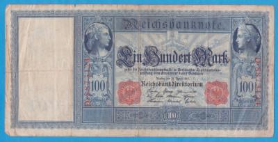 (1) BANCNOTA GERMANIA - 100 MARK 1910 (21 APRILIE 1910) - STAMPILA ROSIE foto