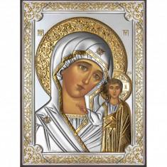Icoana Argintata Maica Domnului Kazan 19X26cm Cod Produs 2587