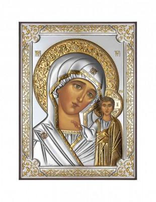 Icoana Argintata Maica Domnului Kazan 19X26cm Cod Produs 2587 foto