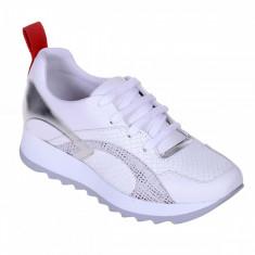 Pantofi Sport de dama din Piele Naturala Alba cu Imprimeu Argintiu