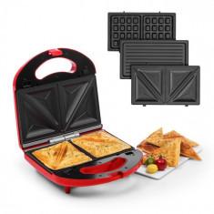 Klarstein Trilit 3 v 1, sandwich-maker, 750 W, plăci de grătar, LED, suprafață antiaderentă, roșu