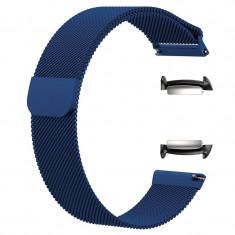 Curea tip Milanese Loop, adaptoare compatibile Samsung Gear Fit 2, Albastru