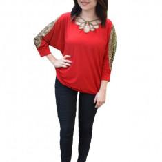 Bluza eleganta Belladona,design cu dantela la maneca,nuanta de rosu