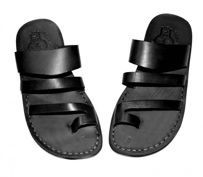 Sandale Deget tip Papuc Piele Naturala Unisex Negre New