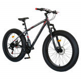 Cumpara ieftin Bicicleta MTB-Fat Bike, schimbator Shimano Tourney 21 viteze, roti 26 inch, frane mecanice disc, Velors CSV26/19B, cadru gri cu design rosu