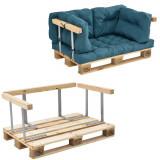 Garnitura completa mobilier paleti Model C - 1 x europalet, 1 x perna sezut, 4 x perne spate, 1 x suport spate, 2 x suporti brate - albastru turcoaz