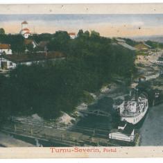 2762 - TURNU SEVERIN, harbor, ships, Romania - old postcard - unused - 1918