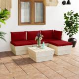 VidaXL Set mobilier grădină din paleți, 5 piese, cu perne, lemn molid