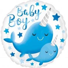 Balon botez baietel Narwhal Baby Boy din folie 43cm foto