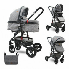 Carucior transformabil 2 in 1, Alba, roti cauciuc, Dark Grey