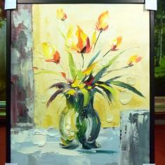 Tablou pictat manual pe panza in ulei Vaza cu Flori A-233, Natura, Realism