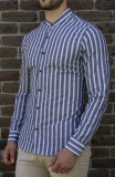 Cumpara ieftin Camasa gri alb - camasa slim fit camasa barbat LICHIDARE STOC cod 195, L, S, XL, Maneca lunga