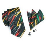 Set cravata + batista + butoni matase naturala model negru 1297