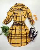 Cumpara ieftin Rochie ieftina casual stil camasa galbena si neagra cu dungi si cordon in talie