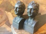 Arta si Design - Set suporti pentru semineu din fonta cu statueta bust de femeie