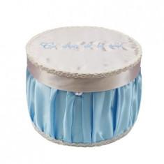 Cutie trusou pentru botez,rotunda, bleu