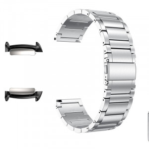 Curea metalica, adaptoare compatibile Samsung Gear Fit 2, Argintiu