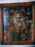 """""""Sfantul Nicolae"""" - icoana pe sticla pictata de Ion Morar din Salistea Sibiului"""