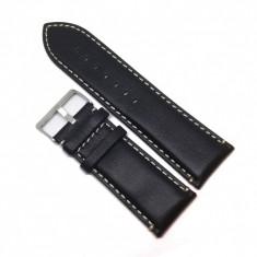 Curea ceas Rewa - Culoare Neagra, cusatura Alba - 28mm - WZ3731