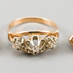Set, inel si cercei, din aur galben 14K, ornamentat cu diamante