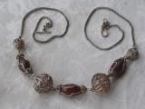 COLIER argint TRIBAL vechi SFERE in filigran cu PIETRE SEMIPRETIOASE exceptional