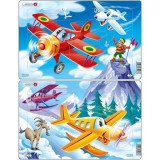 Cumpara ieftin Set 2 Puzzle-uri Avioane, 13 piese Larsen LRU7