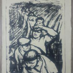 Tarani pe camp// litografie Marcel Chirnoaga, exemplar de artist