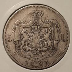 5 lei 1883 Carol I - argint