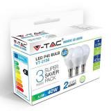 Set 3 becuri LED, 470 lm, soclu E14, 6 W, 6400 K, alb rece, Oem