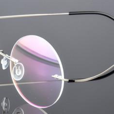Ochelari rotunzi brate argintii lentila transparenta antiradiatii