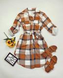 Cumpara ieftin Rochie ieftina casual stil camasa maro cu gri si alb cu carouri si cordon in talie