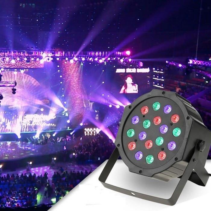 Proiector LED RGB 18W, DMX512 controller disco, senzor sunet