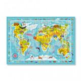 Puzzle Harta animalelor lumii Dodo, 80 piese, 5 ani+