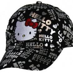 Sapca Hello Kitty, 54 cm (7-10/12 ani), negru/ argintiu