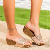 Papuci dama cu platforma bej Vainavi