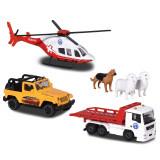 Cumpara ieftin Set Majorette Diorama Mountain Rescue cu 2 masinute, 1 elicopter si 3 figurine