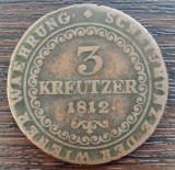 (M1151) MONEDA AUSTRIA - 3 KREUZER 1812, LIT. G, MONETARIA BAIA MARE, MAI RARA