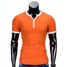 Tricou pentru barbati, portocaliu, simplu, slim fit, mulat pe corp, bumbac - S651