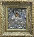 Maica Domnului cu Pruncul, Icoana Romaneasca cu ferecatura din argint, &quot,Atelier Nicolau&quot,