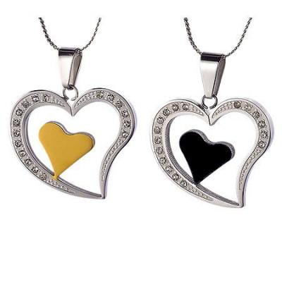 Set de pandantive din oţel - inimi pentru cuplu foto