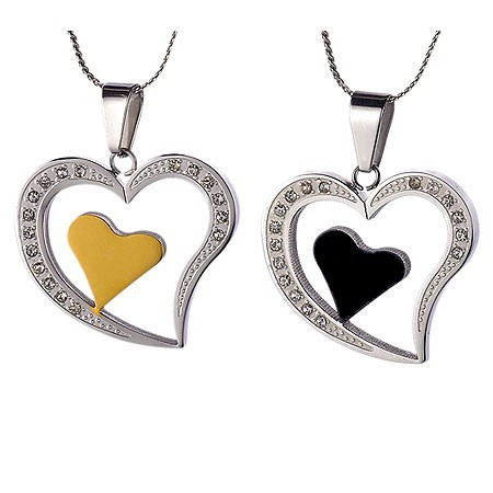 Set de pandantive din oţel - inimi pentru cuplu